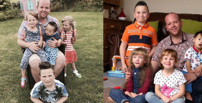 Dört engelli çocuğu evlat edinen eşcinsel baba